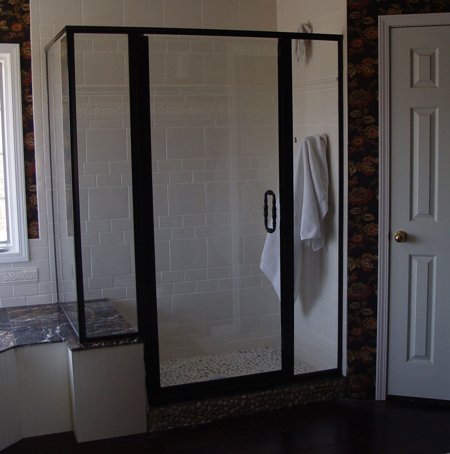 Tall tub door & Custom shower doors etched and painted