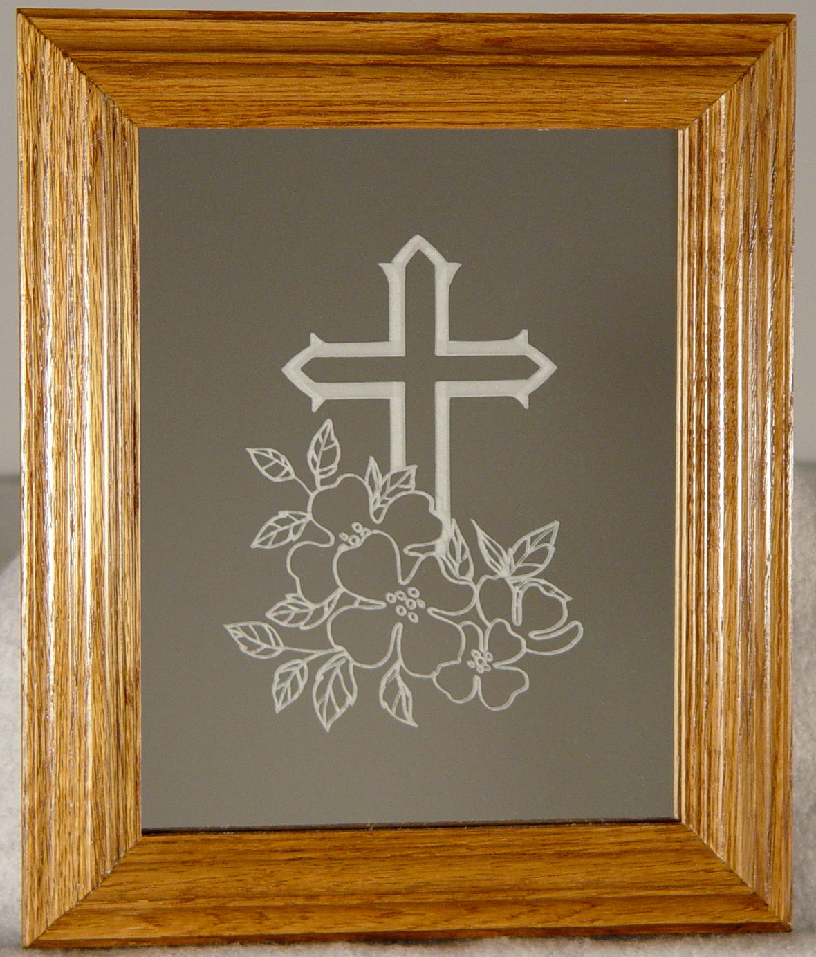 Etched with a cross
